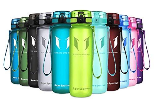 Super Sparrow Trinkflasche - Tritan Wasserflasche - 1000ml - BPA-frei - Ideale Sportflasche - Schnelle Wasserdurchfluss, Flip Top, öffnet Sich mit 1-Click (Limeade, 1000ml-32oz)