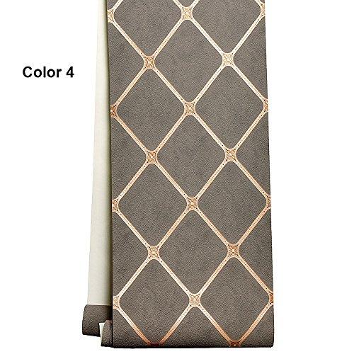 Hauptverbesserung europäische Vliestapete dreidimensionale rhombische Softpack Deerskin Schlafzimmer Wohnzimmer 3D TV Hintergrund Wand Papier (Color : Color 4)
