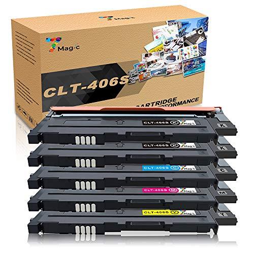 7Magic CLT-406 Compatibile con Samsung CLT-P406C CLT-406S cartuccia del toner,Compatibile con Samsung CLP-360 CLP-365 CLP-365w CLX-3305 CLX-3305fn Xpress SL C460fw C460w C410w C460(5 Pacchi)