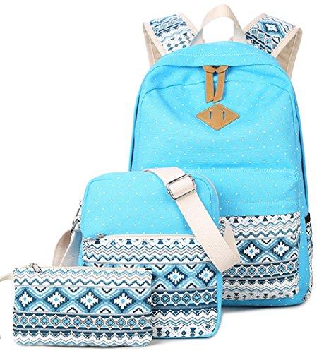 Imagen de yefer  escolares juveniles para chicas lona mujer tela casual bolsa escolar niña ordenadores portátiles de 14 pulgadas +bolso de bandolera+caja de lápices azul set