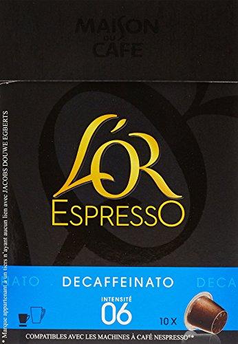 L'OR ESPRESSO Decaffeinato 10 capsules compatibles avec les machines à café Nespresso - Lot de 4 (40 capsules)
