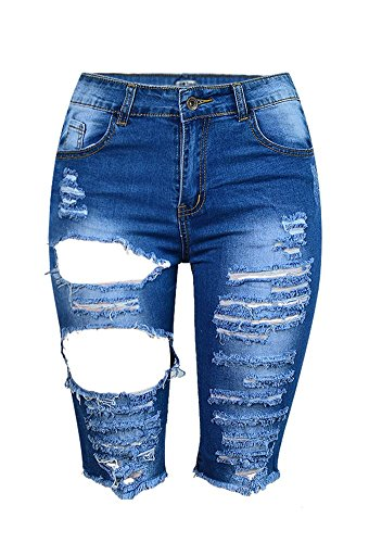 iRachel Damen Denim Stretch Jeans Hohe Taille Short Kurze Hose Ripped Loch Capri Hose Wash Denim Capris