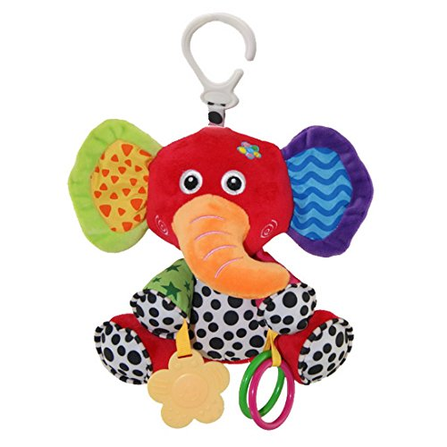 Happy Cherry - Juguetes Rattle Colgando Musical de Bebé Animal Elefante Arrastrar Felpa Infantil Peluche de Cuna Cochecito Traqueteos con Mordedor Sonidos -