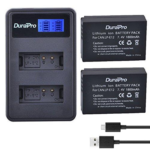 Durapro 1800 mAh LP-E12,LP E12,LPE12 Akku + LCD Dual USB Ladegerät für LP-E12,LC-E12 Akku und EOS M2,EOS M10,EOS M50,EOS Rebel SL1,EOS 100D Digitalkameras (Camera Digital Rebel)