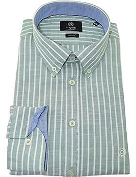 bugatti Hemd modernfit grün weiß gestreiftes Hemd langarm Button-Down Kragen ohne Tasche Size XL