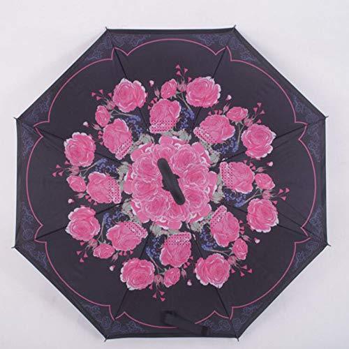 Invertierte Regenschirm Blühendoppelschicht Reverse Folding Regenschirm Anti-uv Winddicht Reise Regenschirm Manuelle Griff E8