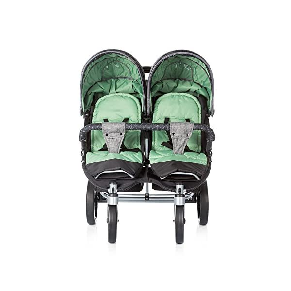 Chipolino Twin Stroller Twix, Green Chipolino Three big section canopies with viewing panels and pockets 5-point adjustable harness with shoulder pads and adjustable leg rests 5 position reclining seats 3