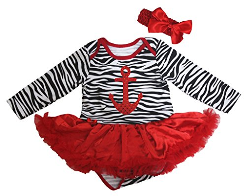 Petitebelle Dress Sequins Sailor Anchor Zebra L/s Bodysuit -