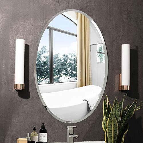 Espejo de Pared Rectangular sin Marco con Borde Biselado de Cristal Plateado para tocador de baño Ovalado50...