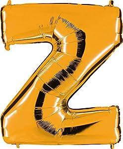 Grabo 452G-P Letra Z Globo Superloon paquete individual, largo-40 pulgadas, color, oro, talla única