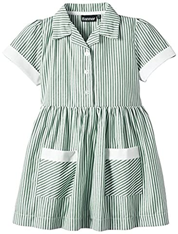 Blue Max Banner Girls Kinsale Striped Short Sleeve Dress, Green, Size 12 (Manufacturer Size:11/12)