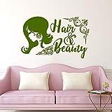 xingbuxin Logo per Capelli e Bellezza Adesivo murale Decorazione per Parrucchieri Beauty Girls Hair Styling Decalcomania in Vinile Barbershop Window Poster 4 68x42cm
