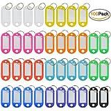 Porté-étiquette, Ishua 100pcs Multicolore Étiquettes en Plastiques Étiquettes de Bagages ID avec Anneau de clé Fendu(Couleur aléatoire)