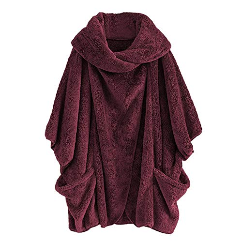 Frauen Casual Solide Rollkragenpullover Große Taschen Mantel Mäntel Vintage Oversize Mäntel (Coat-groß Womens Pea)