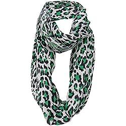 TigerTie damas bucle bufanda en verdenegro gris - leopardo - tamaño 160 x 110 cm