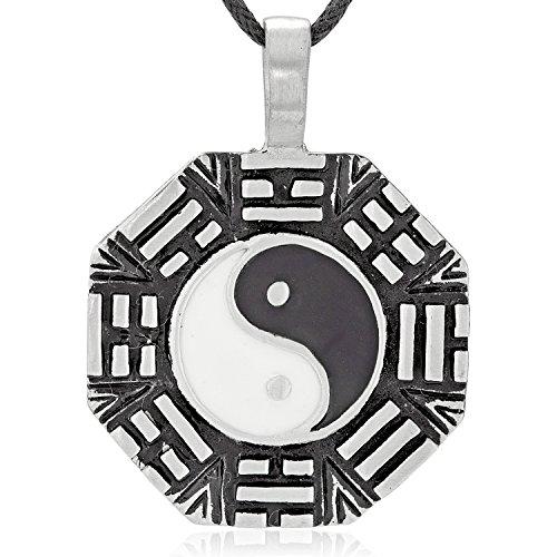 Llords Schmuck Yin Yang Kompass Anhänger Halskette + Versilberter Verschluss, feinster Zinn Metall Modeschmuck
