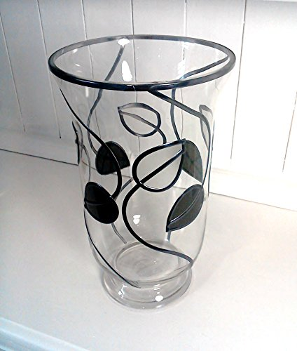 Stunning Hurricane Lamp Hand Decorated Glass Vase In Mackintosh Inspired Leaf And Line Design. Ideal For Large Candles, Other Colours Available On Request