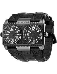 Police Dominator - Reloj analógico de caballero de cuarzo con correa de piel negra - sumergible a 100 metros
