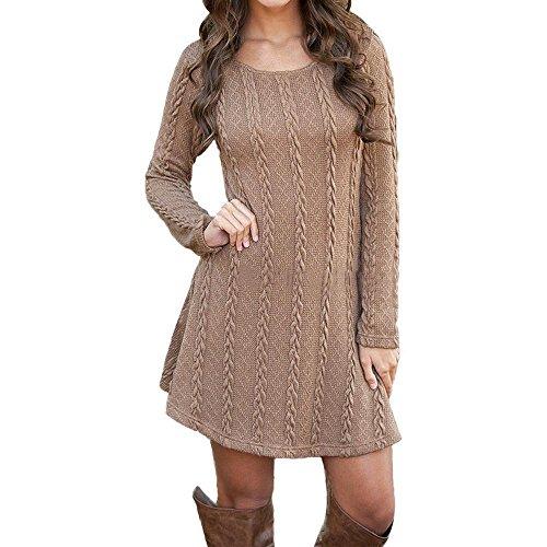 Pullover Kleid Damen, GJKK Damen Frauen Elegant Langarm O-Ausschnitt Jumper Dünne Beiläufige Strickpullover Minikleid kurz Pullover kleid (Braun, L) (New Jersey Vintage)