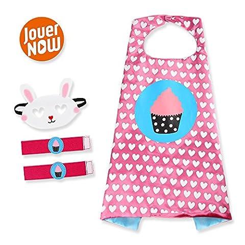 JouerNow Kinder Kostüm Set Cape+Maske+Armband Geburtstag Party Unique Design Rosa (Super Easy Halloween-kostüme Für Kinder)