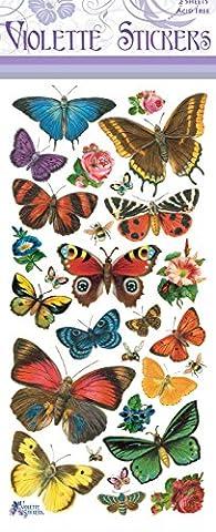 Papillon autocollants de violette motif forêt