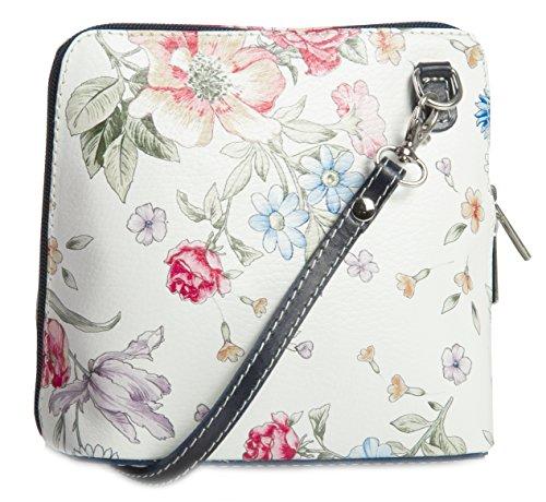 Big Handbag Shop, Borsa a tracolla donna One Floral White - Black Trim