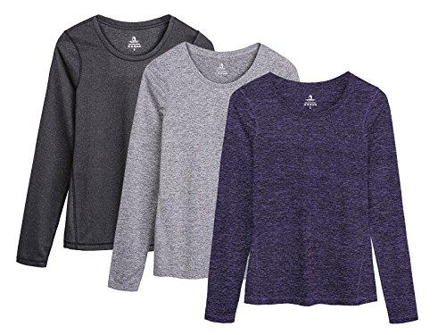 icyzone Damen Laufshirt Langarm T-Shirts atmungsaktive Funktionsshirt für Sport Fitness (Black Heather/Granite/Purple, L) -