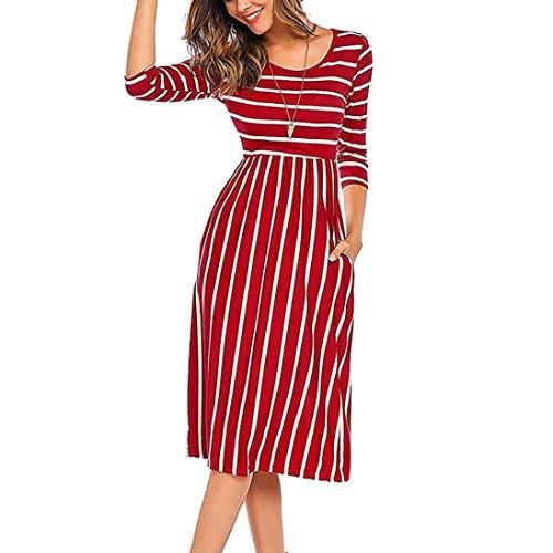 QinMM Frauen Kleid Dreiviertel Ärmel Streifen Elastische Taille Tasche Casual Dress Party Kleid Autunm Sommerkleid Rot Orange Schwarz S-XL (L, Rot) - Elastisches Strickkleid