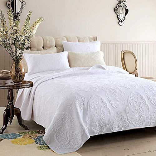 Einfarbig gesteppte Tagesdecke werfen 3 Stück bestickte Bettdecke verdicken Bettdecke Plain Webart Bettwäsche gewaschener Baumwolle Kissenbezug-White-Medium -
