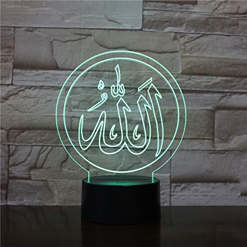 BFMBCHDJ Islamische Allah Lichter Lampe 3D Licht Acryl bunte muslimische USB LED Schreibtischlampe Fernbedienung Licht für Gläubige