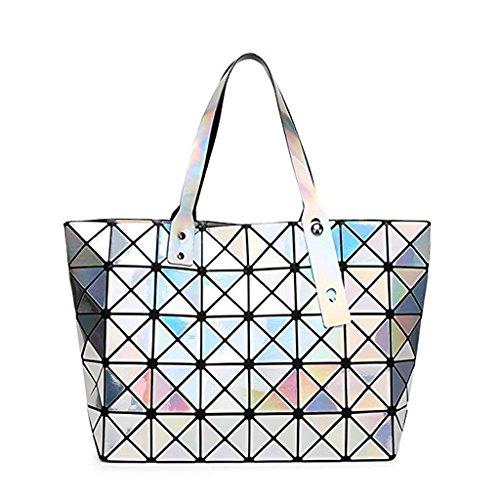 XJRHB Geometrische Rhombus Laser Faltbare Damen Tasche Schultertasche, Größe: 12 X 44 X 28 cm, Multi-Color Optional (Farbe : Silber, größe : 12 X 44 X 28cm)