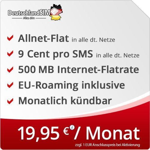 DeutschlandSIM Flat S [SIM, Micro-SIM und Nano-SIM] monatlich kündbar (500MB Internet-Flat, Telefonie-Flat, 9ct pro SMS, EU-Roaming inklusive, 19,95 Euro/Monat) Vodafone-Netz