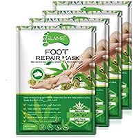 4 Pairs Foot Moisturizing Socks, Foot Moisturizing Mask to Repair Renew Booties, Infused Collagen Vitamins for Dry, Aging, Cracked Heels Intense Skin Nutrition Foot Cream Mask