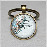 Custom Map Schlüsselanhänger, Stockholm Schweden Vintage Weltkarte, schwedische  Einzigartige Schlüsselanhänger Key Ring Geschenk  Everyday Schlüsselanhänger Key kette Ring individuelle Geschenk  Everyday Geschenk Schlüssel Kette