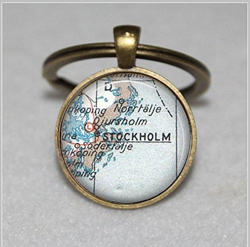 (Custom Map Schlüsselanhänger, Stockholm Schweden Vintage Weltkarte, schwedische  Einzigartige Schlüsselanhänger Key Ring Geschenk  Everyday Schlüsselanhänger Key kette Ring individuelle Geschenk  Everyday Geschenk Schlüssel Kette)