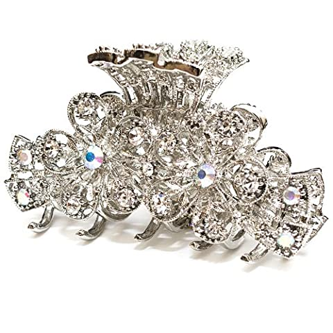 New Fashion Whites Austrian Crystal Silver Tone metal Flowers Hair clips pins claws 1 by unbrand