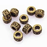 LolliBeads (TM) DIY Jewelry Making Antique Brass Bronze Vintage Style Round Bead Spacer with Large Hole (30 Pcs) by LolliBeads