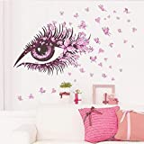 1 Set Rosa Augen Schmetterlinge Wandaufkleber Abnehmbare Wanddeko Aufkleber Abziehbilder