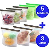 MASCARRY 8 Pack Reusable Silicone Food Storage Bag (5 Medium & 3 Large) for Sandwich/Sous Vide/Snack/Lunch/Fruit, Leakproof, Dishwasher Safe, Microwave Freezer, Maintain Freshness and Food Quality