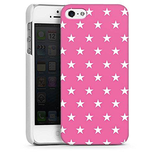 Apple iPhone 5s Housse Étui Protection Coque Polka étoiles Rose vif Motif CasDur blanc