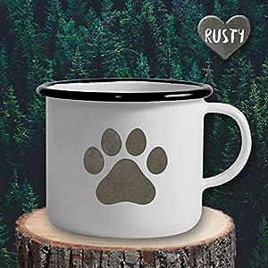The Manufacture Hundepfote Hund Haustier Emaille Becher Tasse als Geschenk, weiß Outdoor Ausrüstung