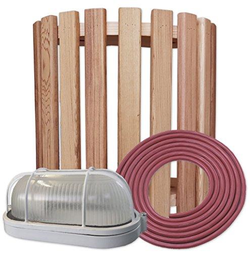 Preisvergleich Produktbild Saunalampe ANNA 29, 3 x 24, 5 cm Saunaleuchte Saunazubehör Holzblendschirm Saunalicht verschiedene Ausführungen mit oder ohne Silikonkabel (3-tlg. Lampenschirm + Fassung + Kabel)