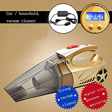 Car Vacuum Cleaner High power Suction Wet&Dry Handheld Auto Vacuum Cleaner Car tire inflatable function, electronic display tire pressure DC 12V 120W 3500Pa Strong Cyclonic Suction (4.5 M) Power