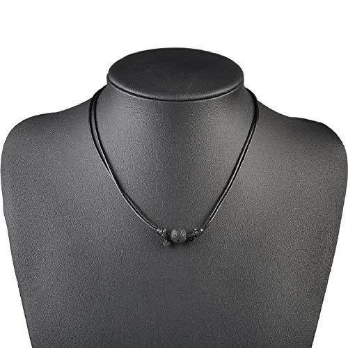 CKAWM Halskette Mode Frauen Männer Schwarz Lava Stein Rock Perlen Ätherisches Öl Diffusor Wachs Linie Seil Kette Halskette Einstellbare Kette Schmuck (Schwarz, 45-82 cm) -