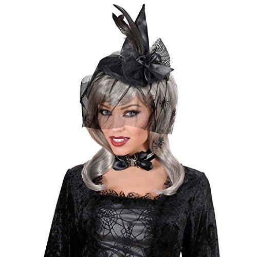 e Kleiner Hexenhut Hexe Fascinator Spitzhut Zauberin Mini Hut Halloween Gothic Federhut ()
