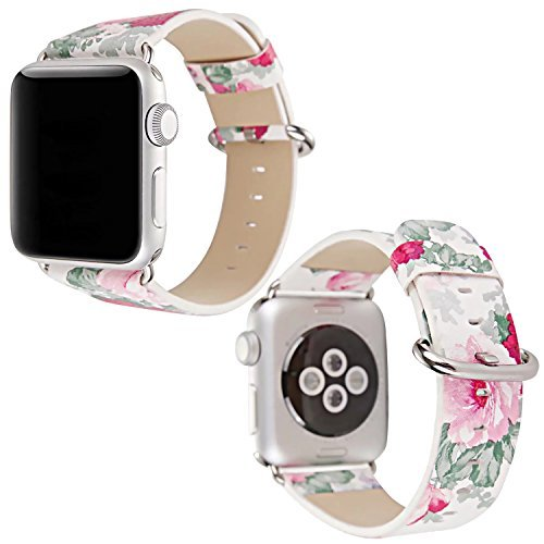 Sasairy 38mm/ 42mm Chinese Style Flower Floral Pattern Leather Watch Band Ladies...