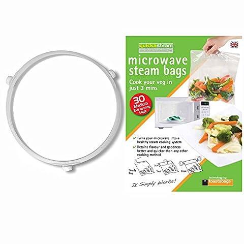 SPARES2GO 3 Rad Glasplatte Roller Ring Ständer mit Dampf Taschen für Tesco Mikrowelle