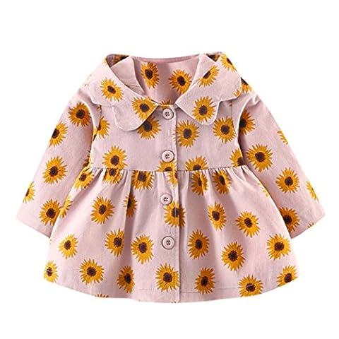 Odejoy Baby Kleinkind Mädchen Herbst Winter Mit Kapuze Mantel Mantel Jacke Dick Warm Kleider Sonnenblume Prinzessin Jacke Wenig Fee (6, Rosa)