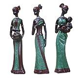 Sharplace 3 Pcs Set Figurines Féminines Africaine Statue De Métiers D'art Sculpture D'ornement Décor - Vert