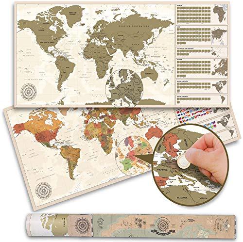 Weltkarte zum Rubbeln XXL - Vintage Rubbel-Weltkarte - Scratch Off World Map Poster (100 x 45 cm - Made in Germany)